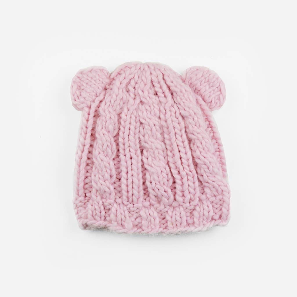 Julian Cable Knit Bear Hat - Pale Pink