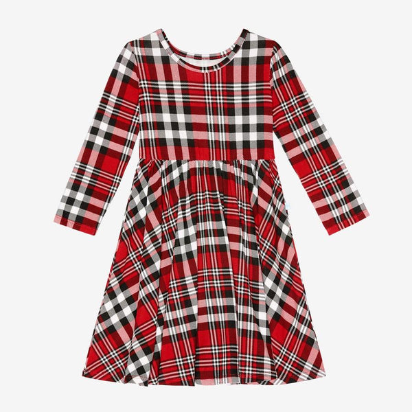 Posh Peanut - NOAH PLAID Long Sleeve Twirl Dress