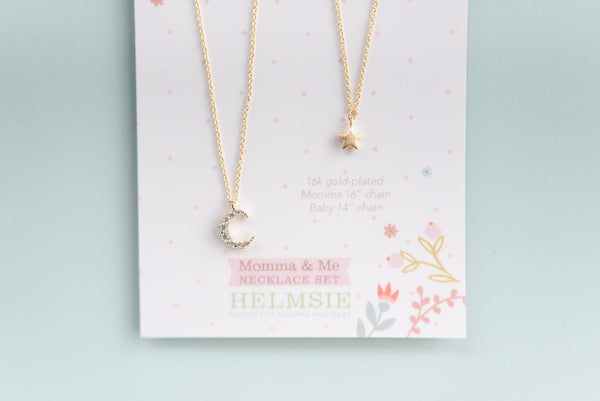Helmsie - Mom & Me Necklace Set - Gold