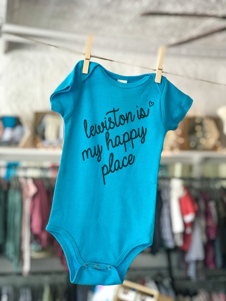 "Morado - ""Lewiston is My Happy Place"" Onesie (more colors)"
