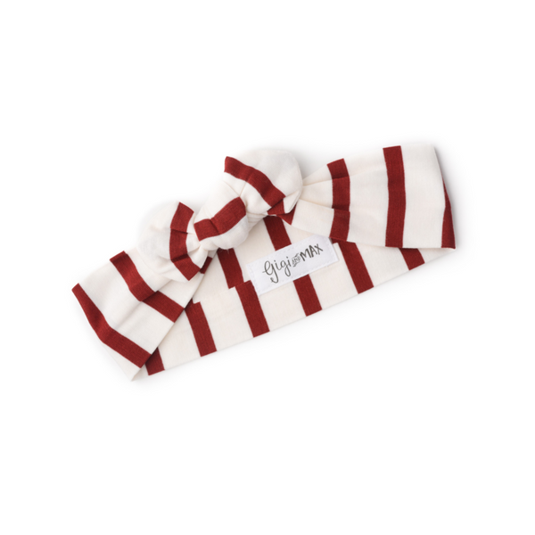 Knotted Button Newborn Gown and Headband Set - Maroon and White Stripe