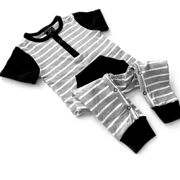 Little Bipsy - Striped Front Pocket Short Sleeve Romper