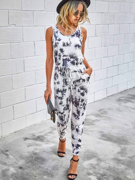 Black & White Marble Tie Dye Jumpsuit