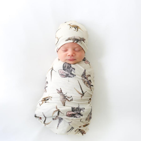 Posh Peanut - VINTAGE DINO Swaddle and Beanie Set
