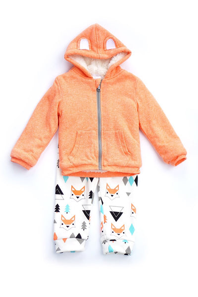 Fox Front Zip Hoodie and Pants Set