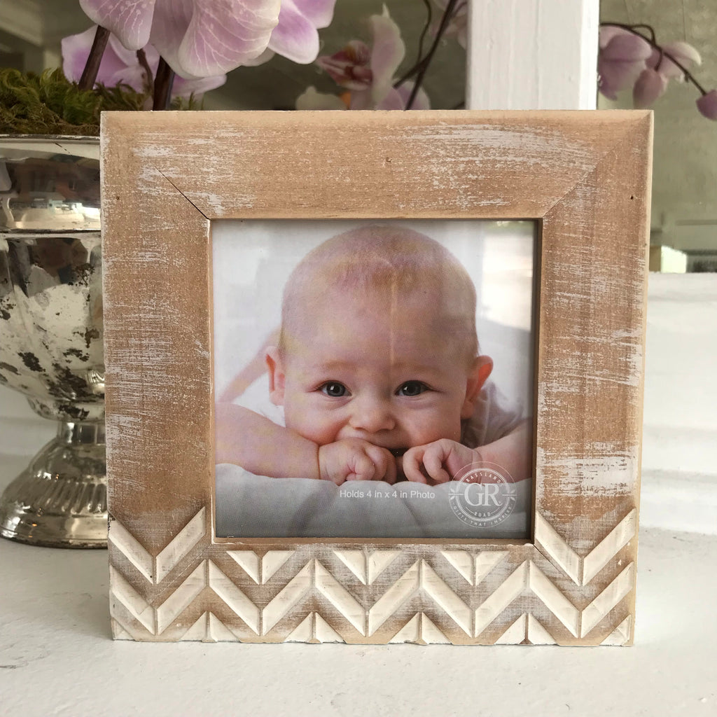 Chevron Wood/Metallic Frame