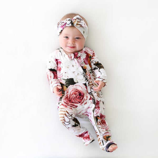Posh Peanut - BLACK ROSE Ruffled Zippered Onesie