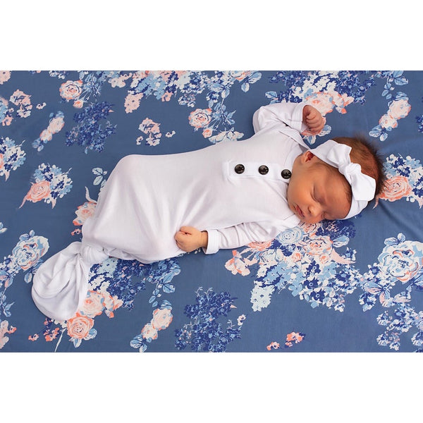 Gigi & Max - Knotted Button Newborn Gown and Headband Set - Charlie White