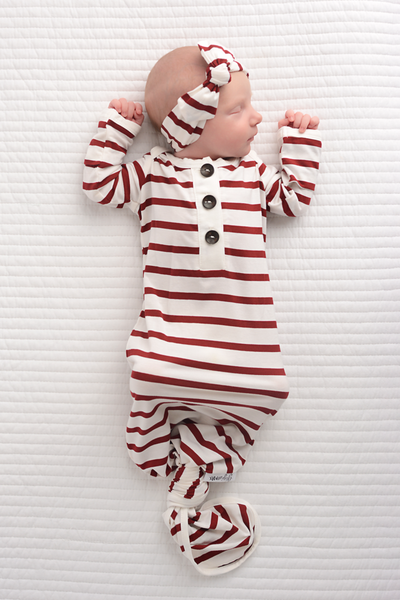 Gigi & Max - Knotted Button Newborn Gown and Headband Set - Maroon and White Stripe