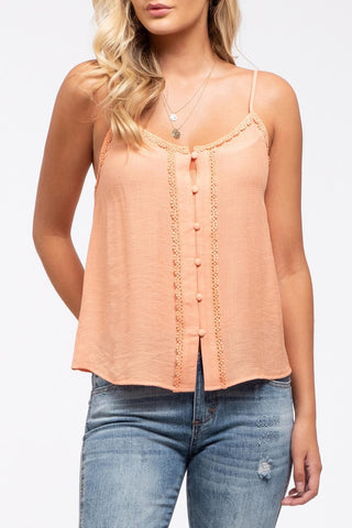 Just Peachy Button Lace Detail Cami by Blu Pepper