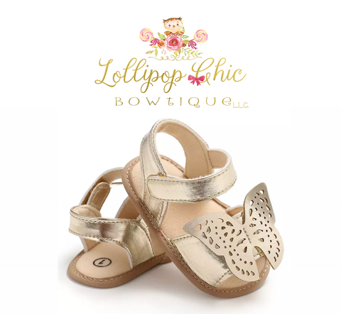 Gold Butterfly Baby Sandals
