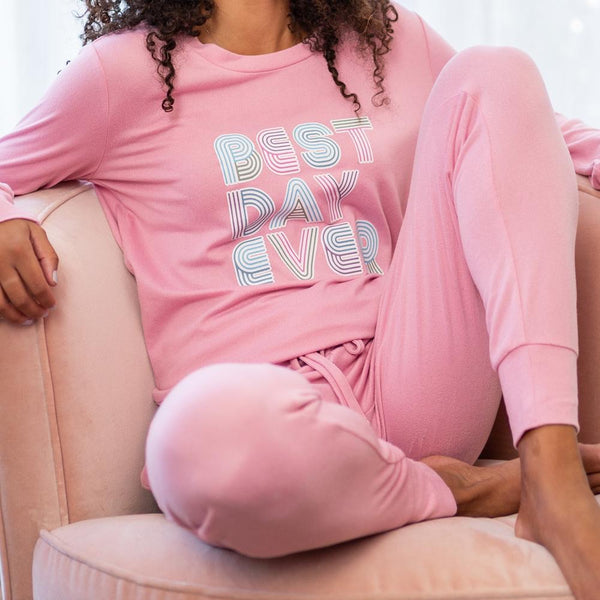 Best Day Ever Lounge Pants by Hello Mello - PINK