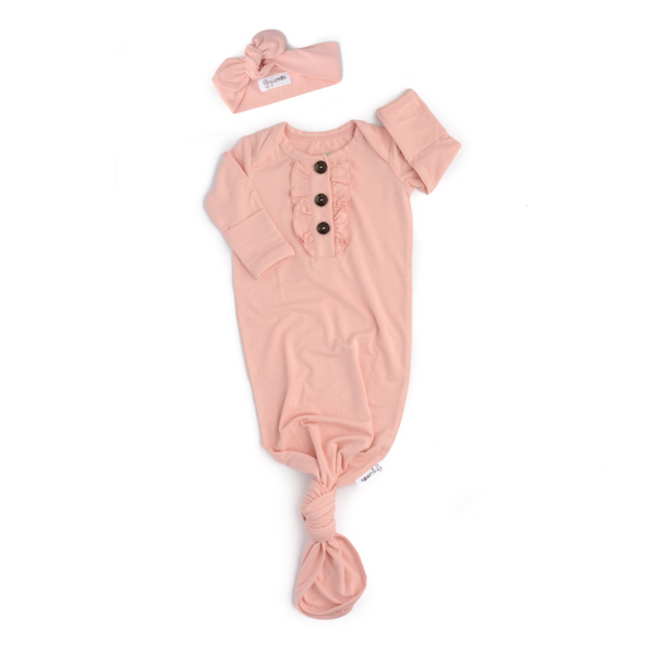 Gigi & Max - Ruffle Knotted Newborn Gown and Headband Set - Light Pink