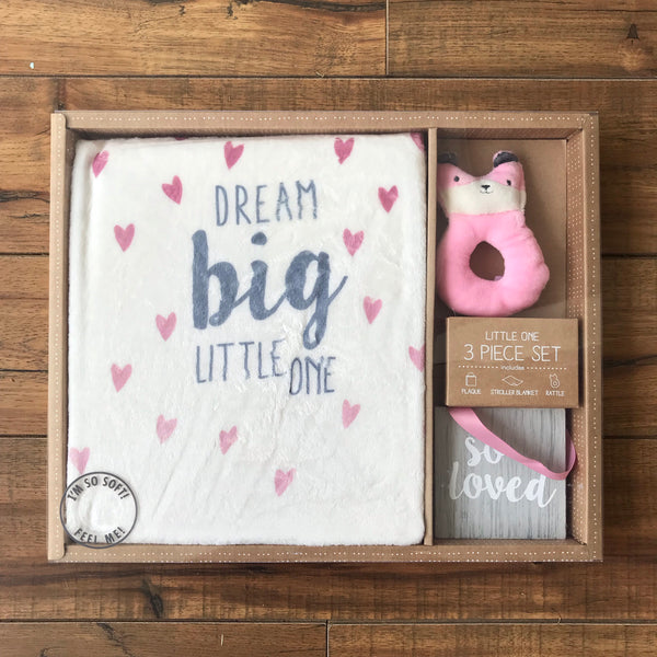 Little One Blanket/Plaque/Rattle Set (more colors)