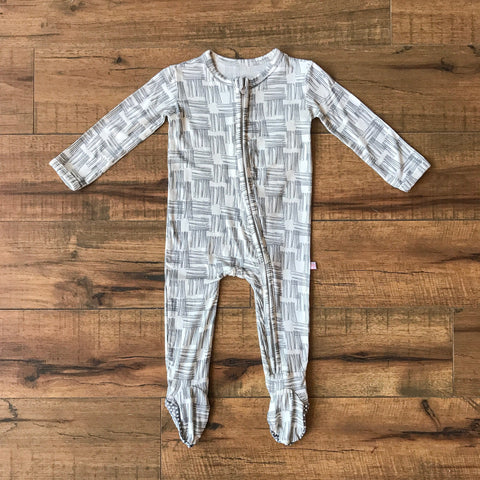 Posh Peanut - RIVERS GREY Footie Zippered Onesie