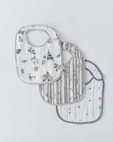 Little Unicorn - FOREST FRIENDS Cotton Muslin Classic Bib Set (3 pack)