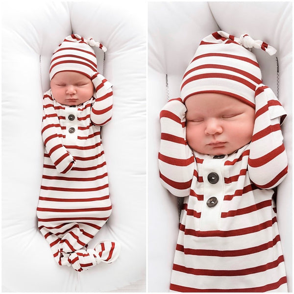 Knotted Button Newborn Gown and Hat Set - Maroon and White Stripe