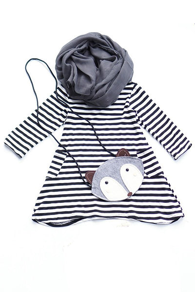 Stripe Dress Set with Scarf and Purse