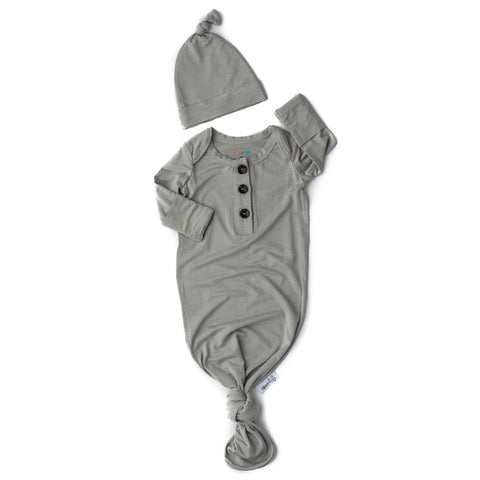 Knotted Button Newborn Gown and Hat Set - Oliver Light Grey