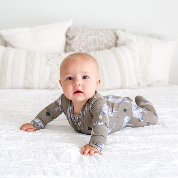 Posh Peanut - ROCCO ELEPHANT Footie Zippered Onesie