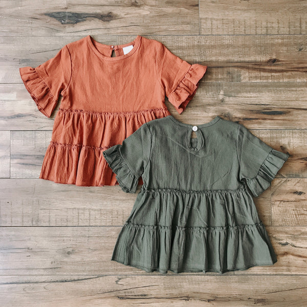 Ruffled Peplum Short Sleeve Tops