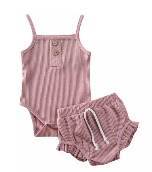 Dusty Rose Ribbed Bloomer Set