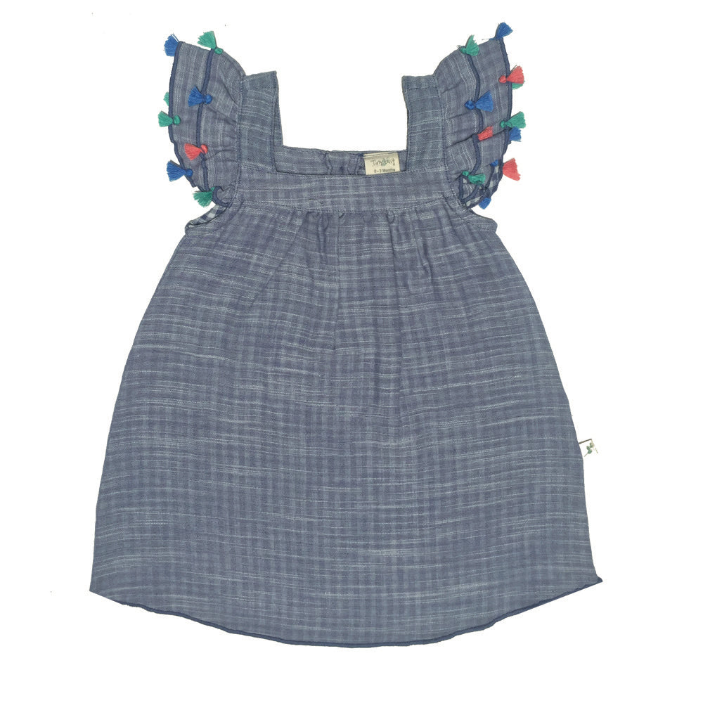 Tiny Twig - Blue Chambray - Tassel Dress with Bloomer