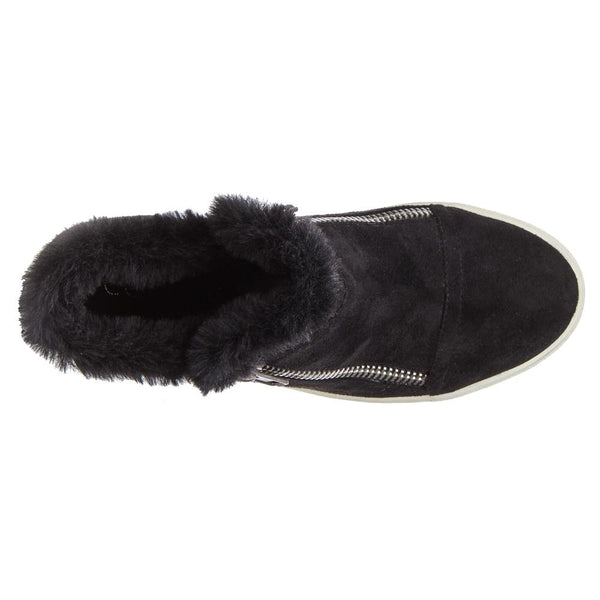 Later Days Black Furry Trim Wedge Sneaker Booties by Matisse Coconuts Collection