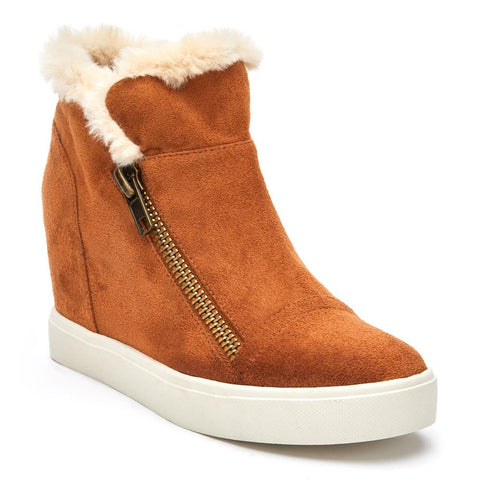 Later Days Saddle Furry Trim Wedge Sneaker Booties by Matisse Coconuts Collection