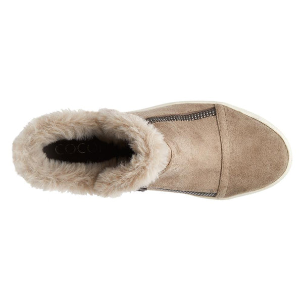 Later Days Taupe Furry Trim Wedge Sneaker Booties by Matisse Coconuts Collection