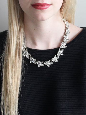 Gorgeous wreath statement necklace of sparkly clear gems and brilliant marquise jewels. Classic, elegant and fun. Perfect for brunch, night out, or any special occasion. Especially a wedding.
