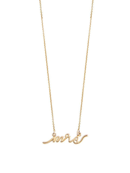 "Dainty gold ""Mrs"" necklace. Perfect gift for an engagement party, bridal shower, wedding, or anniversary."