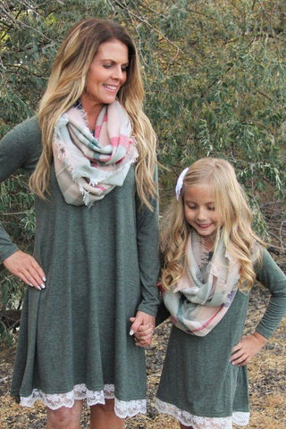 MOM & ME Plaid Infinity Wool Scarf