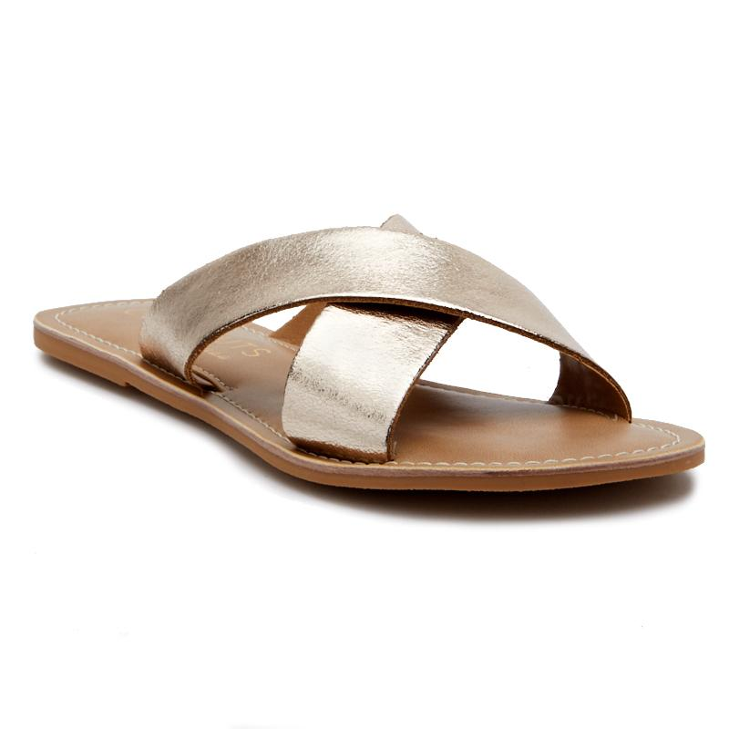 Gold Pebble Slide Sandals by Matisse Coconuts Collection