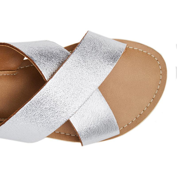 Silver Pebble Slide Sandals by Matisse Coconuts Collection