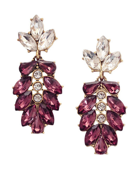 Peony Crystal Drop Statement Earrings