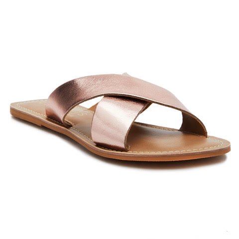 Rose Gold Pebble Slide Sandals by Matisse Coconuts Collection