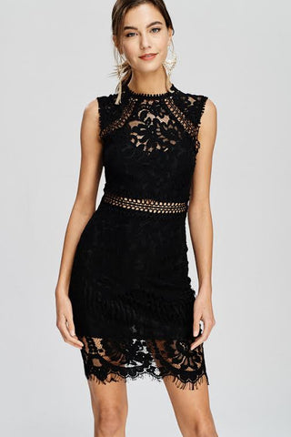 Hot Summer Nights Black Lace Dress