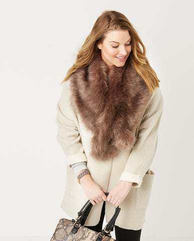 C+C Vail Taupe Faux Fur Collar