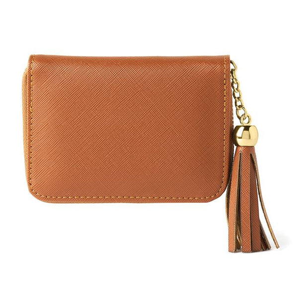 Saffiano Mini Zip Wallet with Tassel
