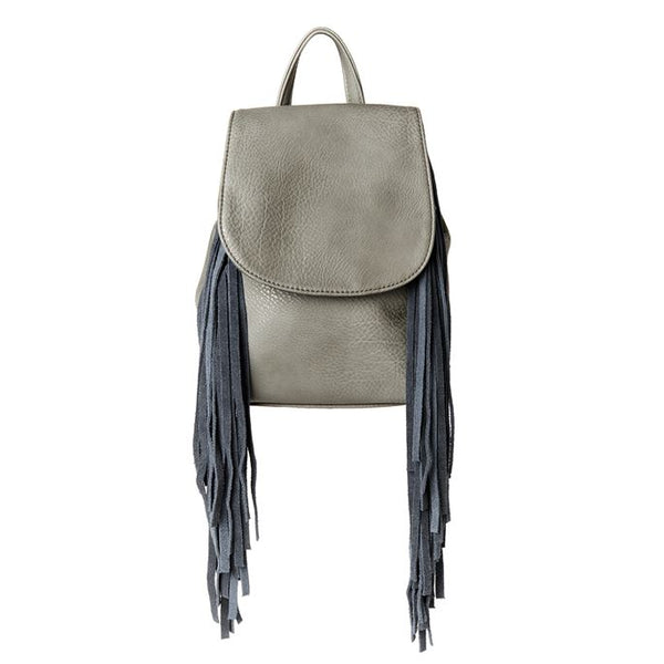 Vegan Leather & Suede Fringe Backpack/Crossbody Bag (more colors)