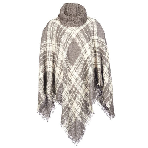 Plaid Fringe Poncho O/S (more colors)