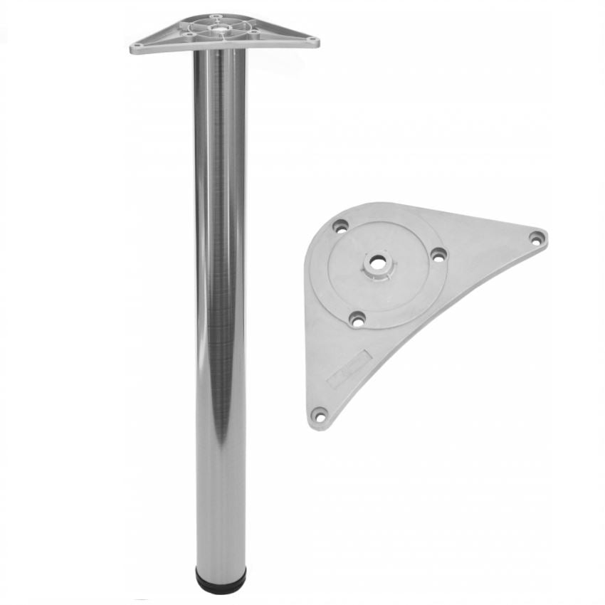Adjustable Furniture Leg 710mm - ZnAl Mounting Plate - Brushed Nickel