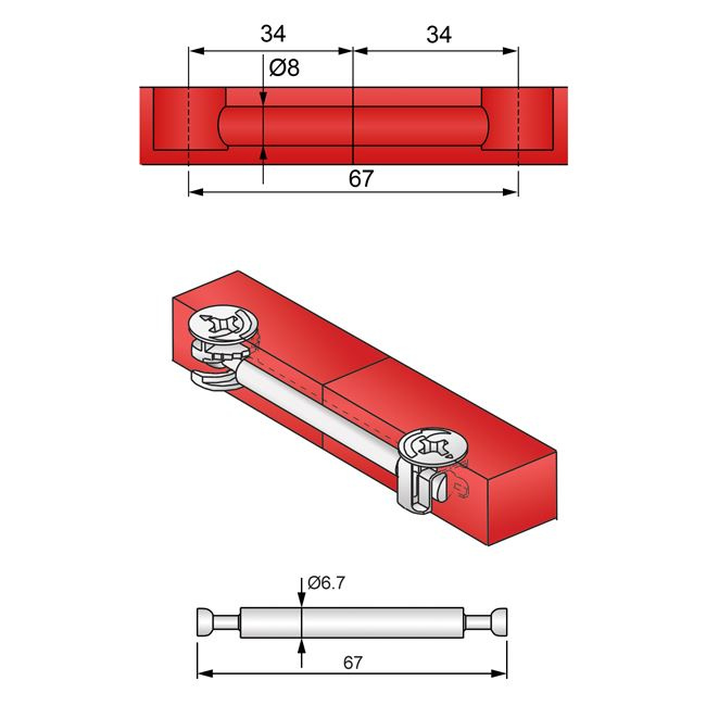 Double-Sided Cam Dowel 34+34mm