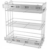 Pull Out Storage Baskets 20cm Soft-Close Side Cargo - 3 Shelves - Chrome