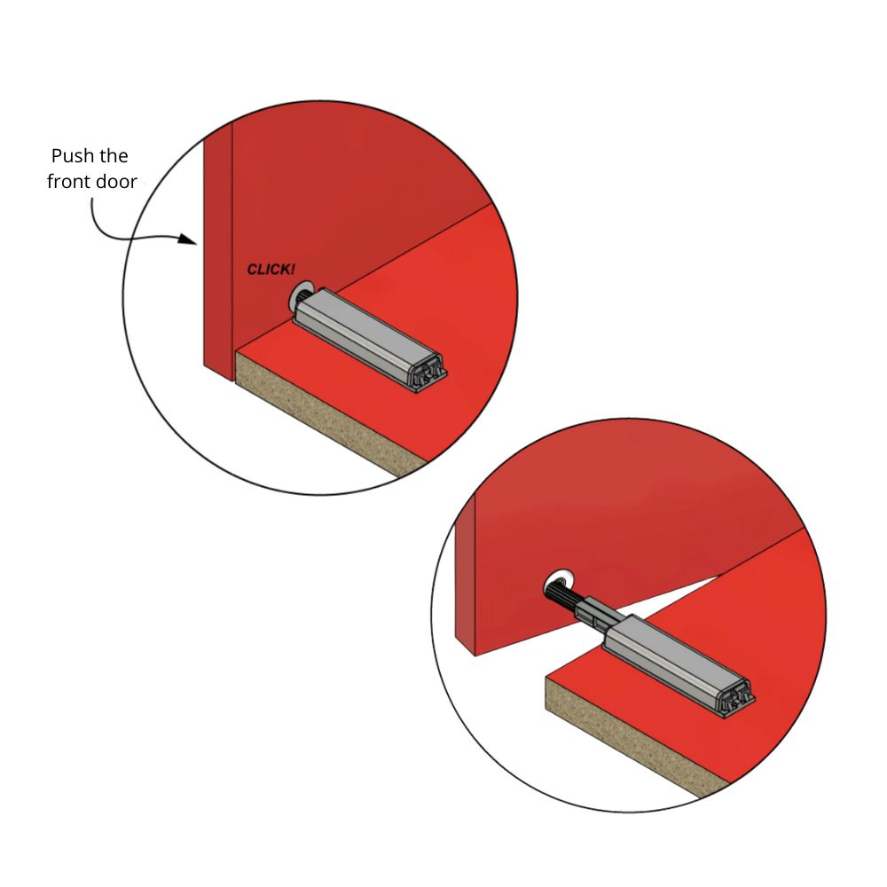 Push to Open latch - Springless Hinges - with magnetic tip Zinc/Grey