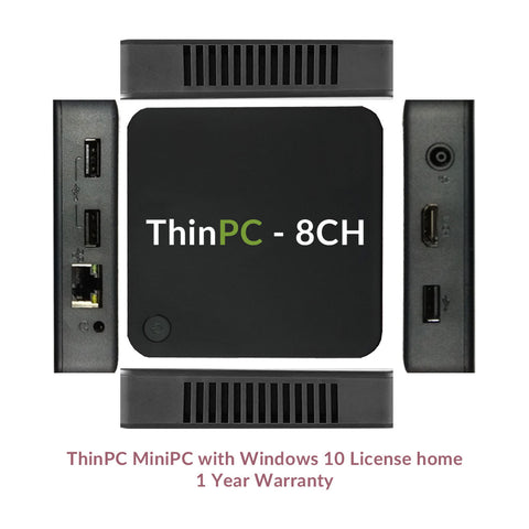 MiniPC 8CH - Intel Quad Core / 2GB / 32GB / Windows 10 license home - ThinPC
