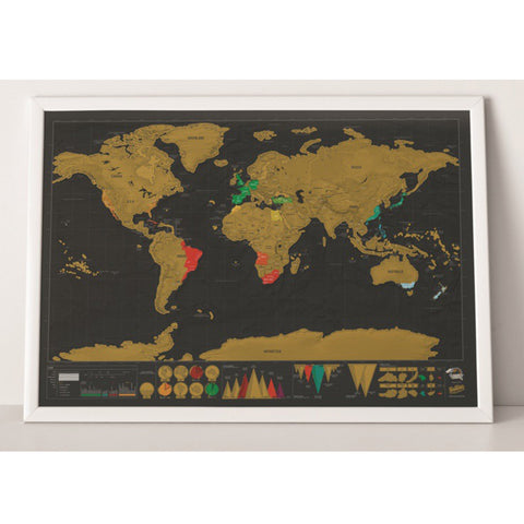 Luxury Edition Black World Deluxe Scratch Map 80x60cm