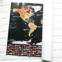 World Map Scratch Off Map With Flags & US States Deluxe Travel Edition 82.5 cm