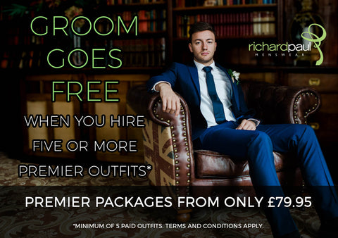 mens suit hire stratford upon avon groom goes free offer value cheap menswear warwickshire west midlands UK